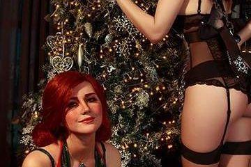 《巫师3》圣诞节福利Cosplay 黑丝妩媚诱惑,胸围逆天