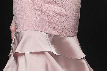 2019夏装新款女装气质甜美拼接荷叶边收腰包臀显瘦优雅连衣裙
