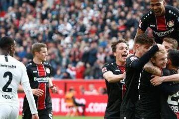 德甲-勒沃库森6-1法兰克福 莱比锡3-3锁定第三