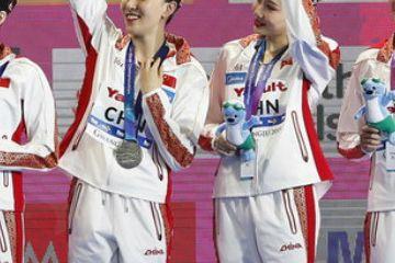 世锦赛花游集体技术自选 中国女队震撼全场获亚军
