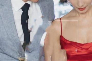 韩庚卢靖姗合体亮相婚前晚宴,新娘吊带红裙亮相美艳十足